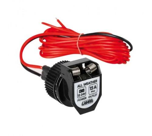 12v/24v opbouwsocket female waterdicht 15amp 360 cm kabel