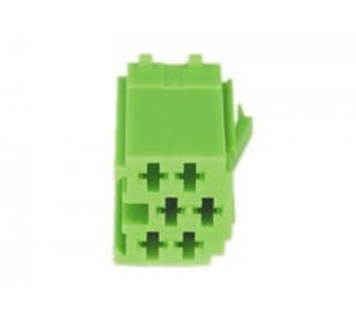 conn. mannelijk  6-pin green MINI ISO  10 stuks