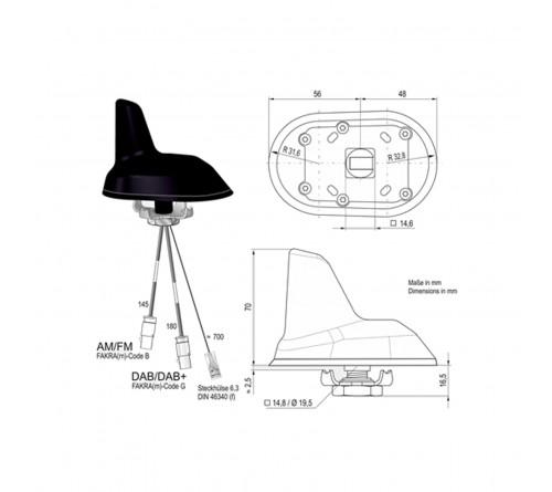 Combi antenne AM/FM / DAB 2x Fakra M (Shark) 0.15m