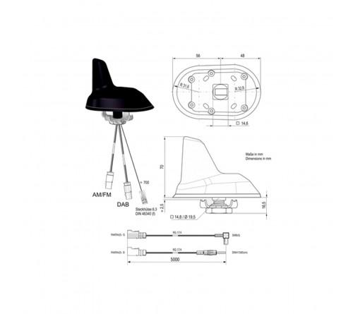 Combi antenne AM/FM / DAB (Shark) Din M / SMB F 5mtr
