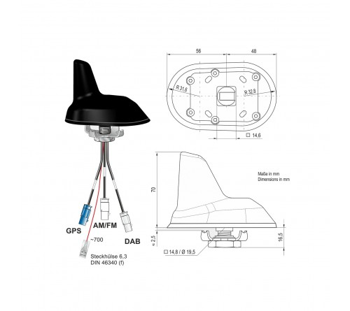 Combi antenne AM/FM / DAB / GPS (Shark) 3x Fakra M 0.2m