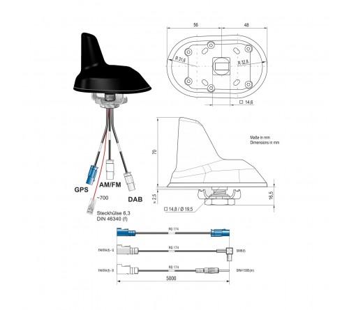 Combi antenne AM/FM / DAB / GPS Shark Fakra M/DIN M/SMB F 5m