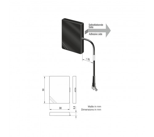 Antenna smartmeter kunststof GSM UMTS WLAN MCX M 0.2m