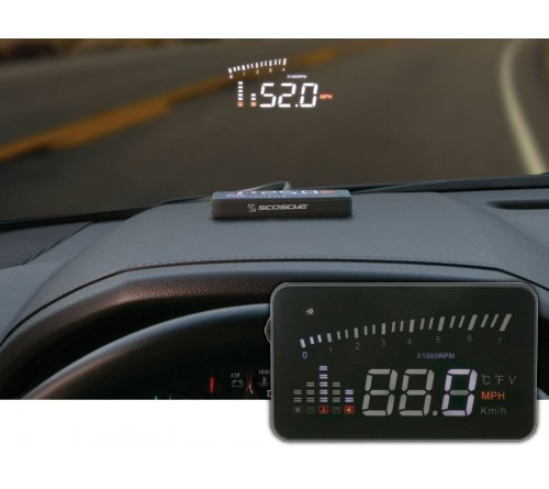 HeadsUp display met OBDII connector voor km/h/RPM