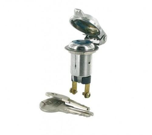 Alarm schakelaar (bulk) 12v/6Amp Ø 18.5 mm 2 sleutels
