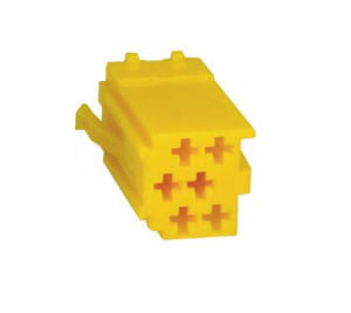 conn. mannelijk  6-pin yellow MINI ISO