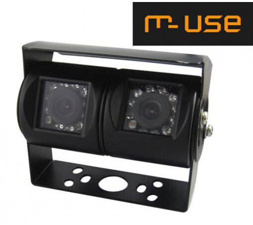 m-use camera universeel duo rear NTSC  120°/90° zwart