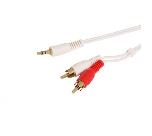 Audio kabel 1x 3.5mm Jack M - 2x RCA M wit 1.5m