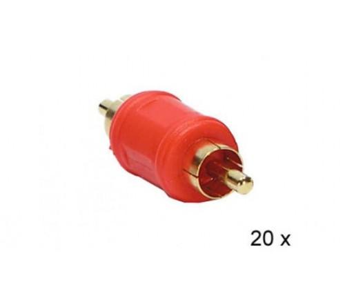 Audio adapter RCA M - RCA M ROOD 20 stuks