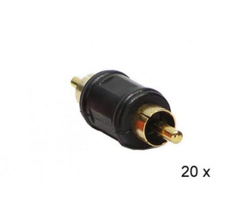 Audio adapter RCA M - RCA M ZWART 20 stuks