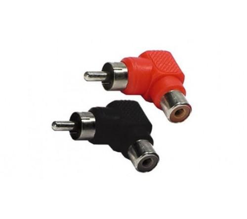 audio adapter RCA M - RCA F rood en zwart haaks