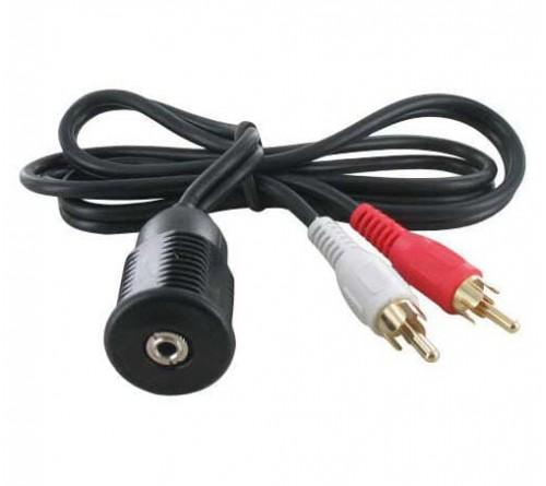Audio kabel 2x RCA M - 3.5mm Jack F inbouw 0.75m