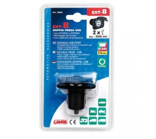 2x USB inbouwsocket 12/24v 2100mA 60x43mm + afdekkap
