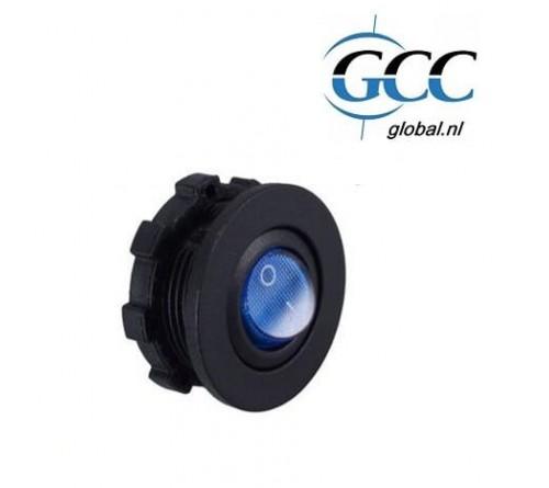 inbouwplug rond toggle switch met LED (blue) en ring